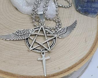 Supernatural Castiel Angel Wing Necklace,Castiel Angel Necklace,Castiel Supernatural Jewelry, Angel Wing Necklace,Pentagram Necklace