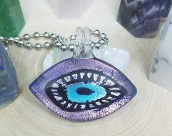 Purple Blown Glass Evil Eye Pendant Necklace, Evil Eye Beaded Choker Jewelry, Boho Costume Fashion Jewelry, Egyptian Glass Necklace Jewelry