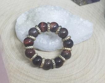 RED TIGER'S EYE Stretch Rings, Crystal Healing Stacking Rings, Red Tiger's Eye Gemstone Ring, Red Stone Rings