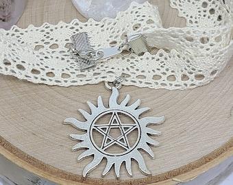 Supernatural Choker Necklace,Lace Choker Necklace,Supernatural Pentacle Necklace,Dean Winchester Choker Necklace,Supernatural Jewelry
