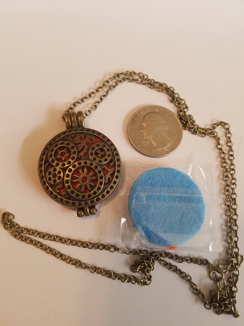 STEAMPUNK DIFFUSER Locket NECKLACE Essential Oil Perfume image 0