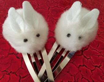 White Rabbit Hair Clips, Bunny Hair Clips, Cute Hair Clips, Pom Pom Snap Clips,Alice In Wonderland,Rabbit Lover Gift,White Rabbit Pom Pom