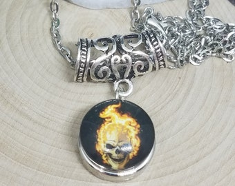 Fire Head Skull Head Snap Pendant Necklace, Mens Gothic Steampunk Jewelry, Boho Costume Fashion Jewelry, Wiccan Pagan Crystal Jewelry Gifts