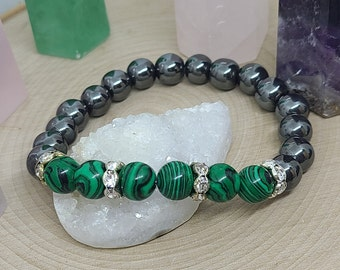Malachite Crystal Bracelet, Malachite Chakra Bracelet, Hematite Malachite Bracelet, Malachite Beaded Bracelet, Malachite Gemstone Bracelet