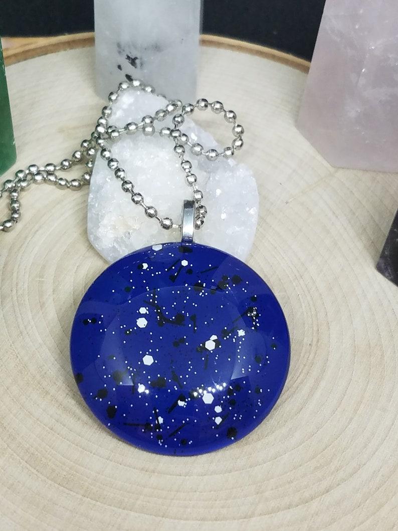 Blue Boho Necklace Blue Polka Dot Pendant Necklace Blue image 0