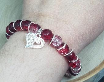 Red Bracelets For Women, Red Charm Bracelet, Red Gothic Bracelet, Red Boho Bracelet, Red Love Bracelet, Red Stretch Bracelet,Beaded Bracelet