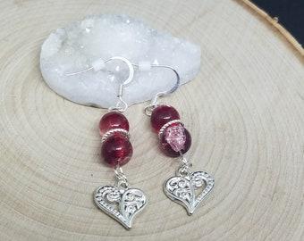 Red Double Sided Earring, Red Drop Earrings, Glass Earrings Dangle, Red Boho Earrings, Red Earrings, Tiny Drop Earrings, Red Heart Earrings