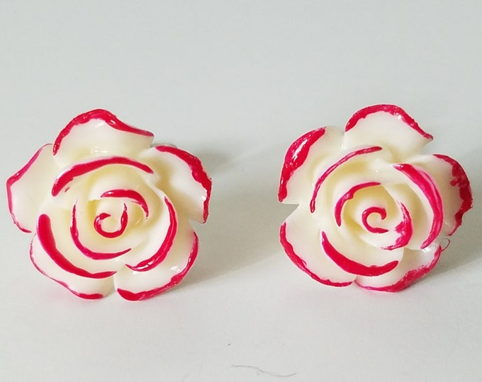 Featured listing image: Rose Stud Earrings, Red Stud Earrings, Red Rose Studs, Alice In Wonderland Rose Earrings, Red Rose Earring Studs, Rose Studs,Queen Of Hearts