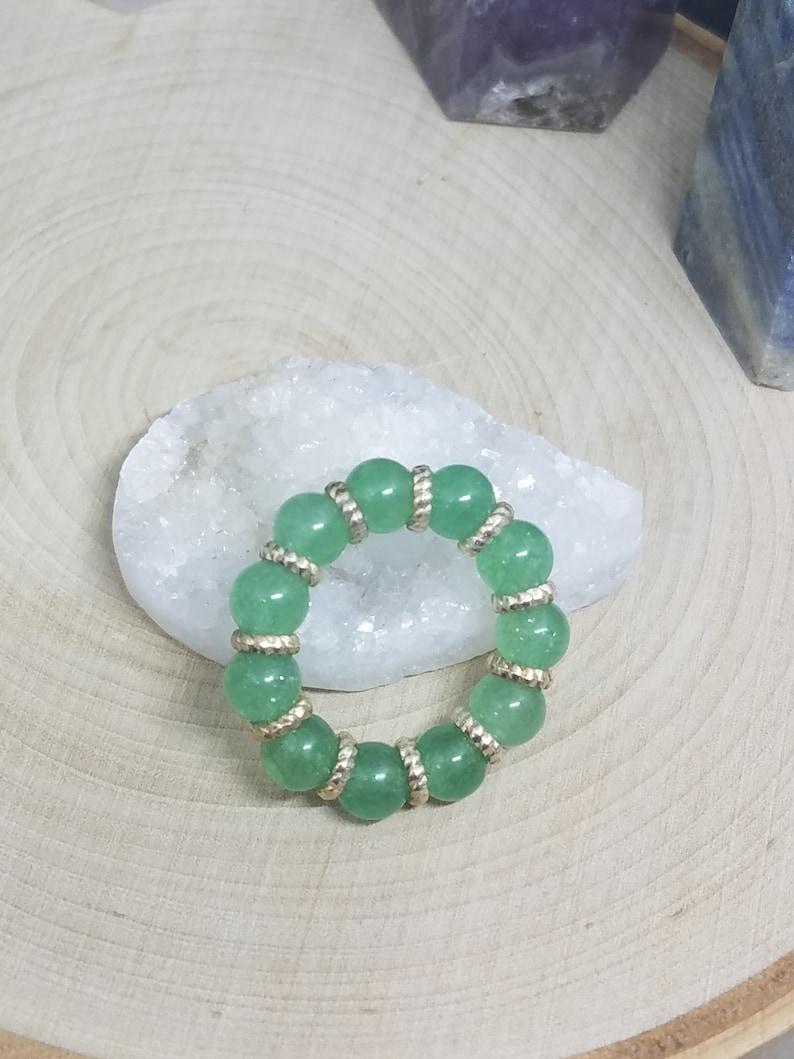 Green Aventurine Crystal Ring Aventurine Crystal Thumb Ring image 0