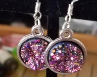 Purple Druzy Earrings, Druzy Earrings Dangle, Purple Druzy Witchy Earrings, Purple Druzy Pagan Earrings, Purple Druzy Goth Earrings