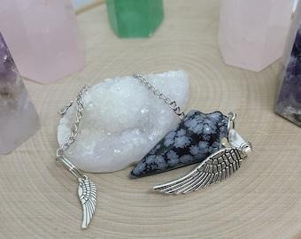 Supernatural Crystal Pendulum, Snowflake Obsidian Crystal Pendulum, Black Obsidian Dowsing Pendulum, Obsidian Healing Crystals, Angel Wings