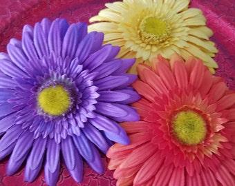 Flower Hair Clips, Large Hair Bows, Sunflower Snap Clips, Daisy Hair Bow, Girls Hair Bows, Flower Hair Bows