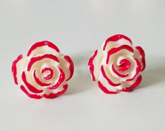 Rose Stud Earrings, Red Stud Earrings, Red Rose Studs, Alice In Wonderland, Queen Of Hearts Rose Earrings, Red Rose Painted Earrings