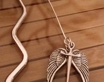 Supernatural Metal Bookmark,Supernatural Angel Blade Book Charm,Supernatural Angel Wings Book Mark,Book Lover Gift,Supernatural Book Jewelry