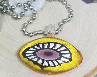 Yellow Blown Glass Evil Eye Pendant Necklace, Evil Eye Beaded Choker Jewelry, Boho Costume Fashion Jewelry, Egyptian Glass Necklace Jewelry