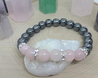 Rose Quartz Bracelet,Rose Quartz Jewelry,Rose Quartz Crystal Bracelet,Rose Quartz Stretch Bracelet,Hematite Crystal Bracelet