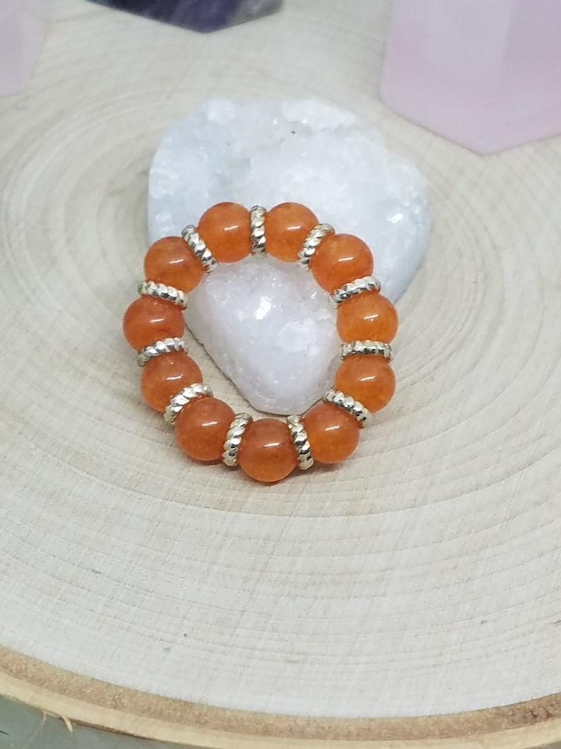 Orange Quartz Crystal Stretch RingsOrange Quartzite Stacking image 0