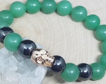 Green Aventurine Crystal Bracelet, Skull Aventurine Bracelet, Hematite Healing Bracelet, Aventurine Crystal Hematite Bracelet,Skull Bracelet