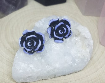 Rose Stud Earrings, Rose Earrings, Alice In Wonderland Earrings, Goth Earrings, Earring Studs, Alice In Wonderland Floral Earrings