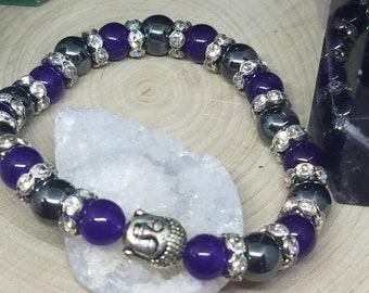Hematite Crystal Amethyst Bracelet, Third Eye Chakra Bracelet, Reiki Healing Protection Bracelet, Hematite Crystal Purple Bracelet