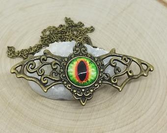 Antique Brass Bat Pendant Necklace, Evil Eye Pendant Gothic Necklace, Bat Necklace Talisman Jewelry