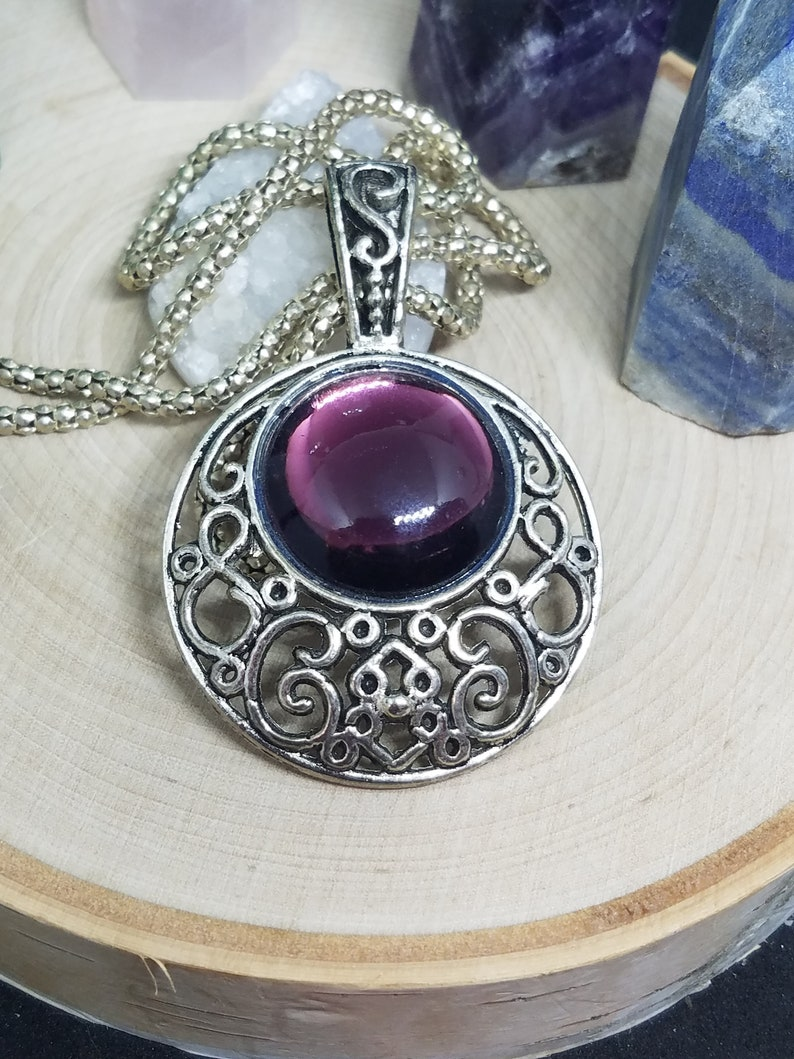 Amethyst Crystal Goth Necklace Victorian Pendant Bold image 0