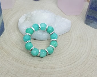 Turquoise Quartz Crystal Stretch Rings, Turquoise Quartzite Thumb Ring, Quartz Crystal Stacking Rings, Empath Protection Crystal Ring