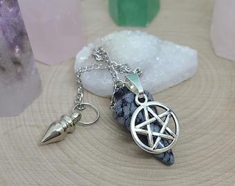 Obsidian Crystal Pendulum, Snowflake Obsidian Dowsing Pendulum, Black Obsidian Pendulum Crystal,Obsidian Crystal Point,Supernatural Pendulum