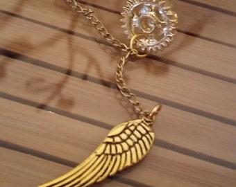 Ear Cuff Steampunk Earrings, Ear Cuff Angel Wing Earrings, Ear Cuff Pagan Earrings, Angel Wings Goth Earrings, Steampunk Ear Cuff