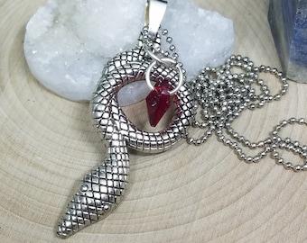 Snake Crystal Necklace, Snake Necklace, Snake Pendant Necklace, Red Crystal Necklace, Snake Charm Necklace, Snake Wiccan Necklace