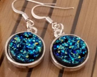 Druzy Boho Earrings, Druzy Blue Earrings, Druzy Pagan Earrings, Druzy Earrings Dangle, Witchy Earrings Dangle, Druzy Stone Earrings