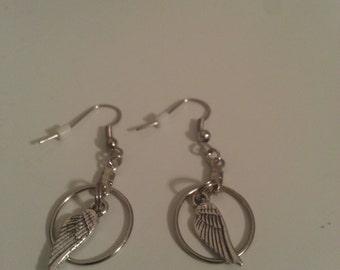 Supernatural Castiel Angel Wing Earrings, Angel Wing Earrings, Fairy Wings Hoop Earrings, Tiny Hoop Earrings, Castiel Small Hoop Earrings