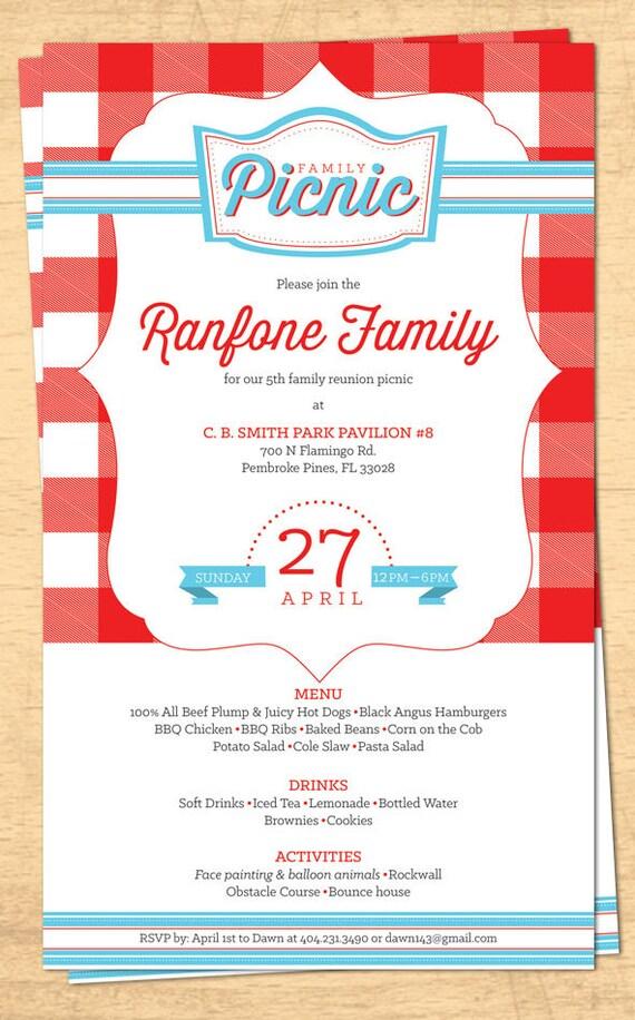 Familientreffen Picknick Einladung BBQ Einladung 4. Juli