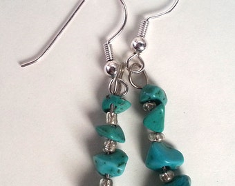 Turquoise Chip Dangling Earrings