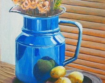 Lemons and jug - fine art print