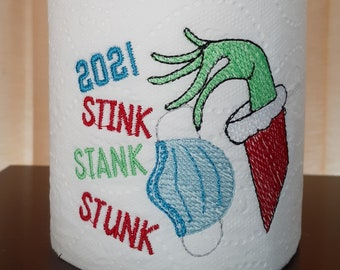 Custom order - EMBROIDERED Toilet Paper - 2021 - Specialty toilet paper - Bathroom Decor - Winter decor