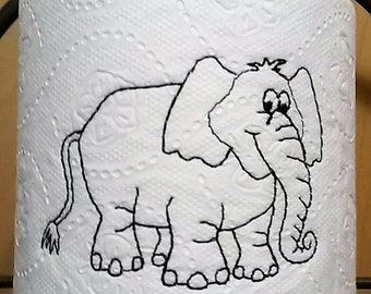 EMBROIDERED Toilet Paper - White Elephant- Specialty toilet paper - Bathroom Decor-Gag gift