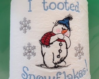 EMBROIDERED Toilet Paper - Snowman toot - Specialty toilet paper - Bathroom Decor - Winter decor