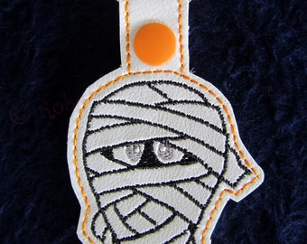 Embroidered Key Fob - Herman Key fob - Halloween Snap Tab - Mummy Snap Tab