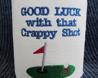 EMBROIDERED Toilet Paper - Specialty toilet paper - Bathroom Decor - Golf theme