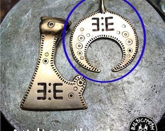 Lunula pendant with symbol of Ūsiņš bronze