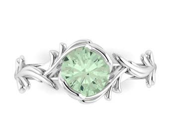 VINE: Elvish Tiara inspired Engagement Ring with Green Prasiolite Amethyst center stone in your choice of metals!