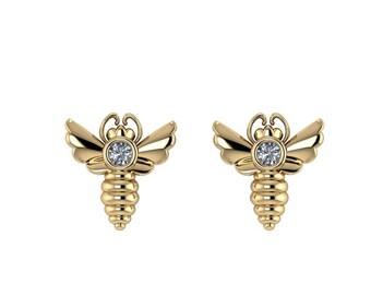 MELISSAE: Tiny Bee Stud Earrings with Canadian Diamonds. Art Deco inspired bee earrings.