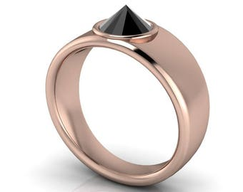 STILETTO: Inverted Black Diamond Solitaire in your choice of metals!