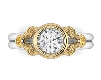 WINGED: Certified Natural White Sapphire Bezel Set Two Tone Ring with Yellow Sapphire Accents. Wizard Inspired Engagement Ring!