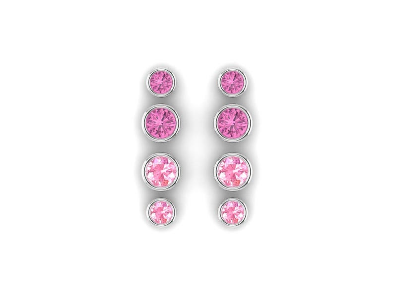 f0936d1aa Bezel Set Blush Pink or Bright Pink Sapphire Stud Earrings in | Etsy