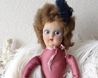 2eca5c8cae5 Vintage boudoir doll googly flirty eye bed doll French style flapper girl mask  face stuffed long cloth body sofa doll