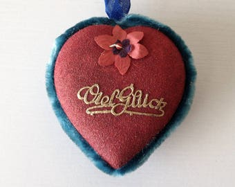 Vintage German heart candy container Viel Gluck good luck ornament red valentine heart box chenille pipe cleaner Christmas greetings
