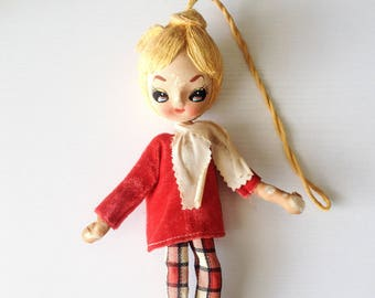 Vintage mod girl pose doll retro Japan stockinette pixie girl big eye blond ponytail hanging ornament