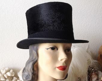 fae81dc9f72 Vintage top hat Stetson black antique mens hat silk furry felt formal old  dandy steampunk costume hat